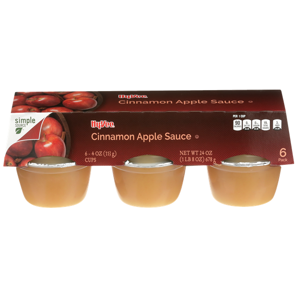 Hy-Vee Cinnamon Apple Sauce 6 Pack
