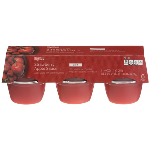 Hy-Vee Light Strawberry Flavor Apple Sauce 6-4 oz Cups
