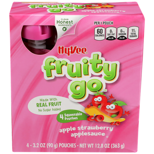 Hy-Vee Fruity Go Apple Strawberry Applesauce 4-3.2 oz Pouches