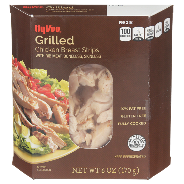 Hy-Vee Fully Cooked Grilled Chicken Breast Strips