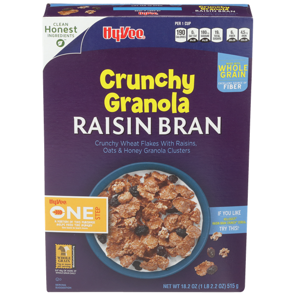 Hy-Vee One Step Crunchy Granola Raisin Bran Cereal