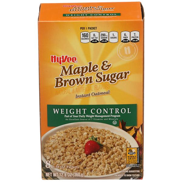 Hy-Vee Maple & Brown Sugard Instant Oatmeal Weight Control 8-1.58 oz Packets