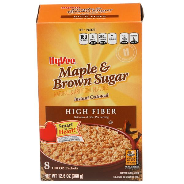Hy-Vee Maple & Brown Sugar Instant Oatmeal High Fiber 8-1.58 oz Packets