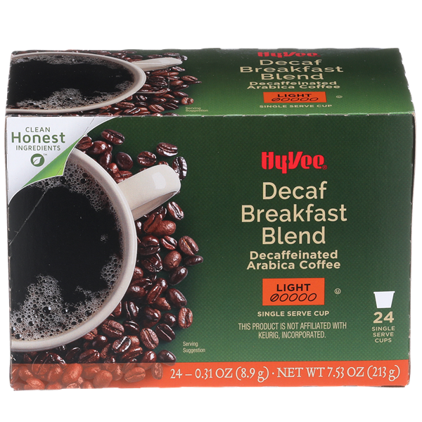 Hy-Vee Decaf Breakfast Blend Single Serve Cups 24-0.31 oz ea.