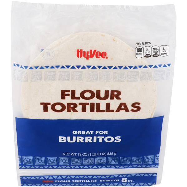 Hy-Vee Flour Tortillas for Burritos 8Ct