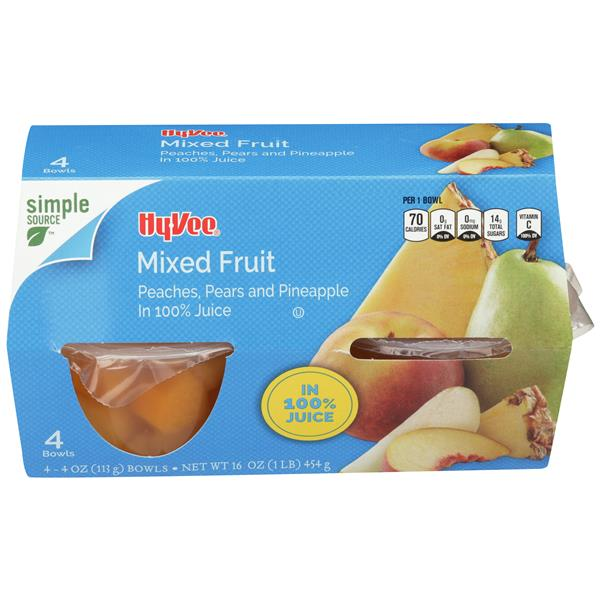 Hy-Vee Mixed Fruit in 100% Juice 4-4 oz Bowls
